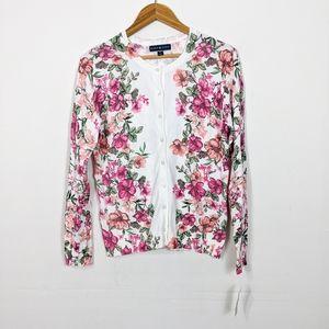 Karen Scott Floral Cardigan Sweater Petite Large